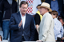 Prime Minister David Cameron chats to Yorkshire Cricket legend Geoffrey Boycott at the finish line of Stage 1 of the Tour de France - Photo mandatory by-line: Rogan Thomson/JMP - 07966 386802 - 05/07/2014 - SPORT - CYCLING - Harrogate, North Yorkshire - Le Tour de France Grand Depart Stage 1, Leeds to Harrogate.