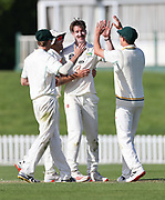 Blair Tickner of CD celebrates his five wicket bag. Canterbury vs. Central Districts Day 2, 1st round of the 2021-2022 Plunket Shield cricket competition at Hagley Oval, Christchurch, on Sunday 24th October 2021.<br /> © Copyright Photo: Martin Hunter/ www.photosport.nz