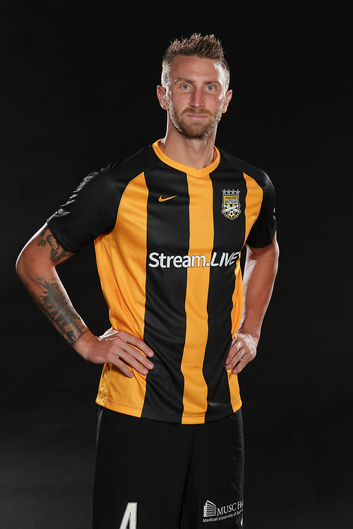 Taylor Mueller (4)<br /> Media Day, Home Kits, Charleston Battery at MUSC Health Stadium in Charleston, S.C. on Tuesday, June 19, 2018.<br /> Zach Bland/Charleston Battery