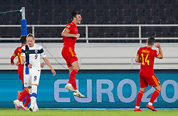 HELSINKI, FINLAND - Thursday, September 3, 2020: Wales' Kieffer Moore celebrates after scoring the only goal of the game during the UEFA Nations League Group Stage League B Group 4 match between Finland and Wales at the Helsingin Olympiastadion. Wales won 1-0. (Pic by Jussi Eskola/Propaganda)