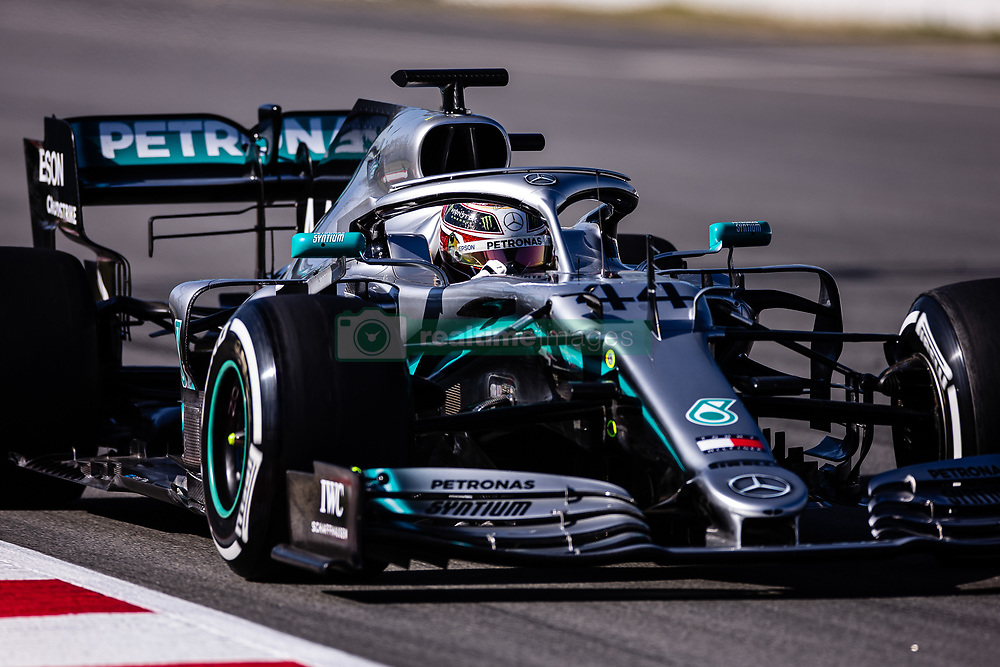 February 26, 2019 - Barcelona, Barcelona, Spain - Lewis Hamilton of Great Britain with 44 Mercedes AMG Petronas Motorsport W10 in action during the Formula 1 2019 Pre-Season Tests at Circuit de Barcelona - Catalunya in Montmelo, Spain on February 26. (Credit Image: © AFP7 via ZUMA Wire)