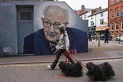 © Licensed to London News Pictures. 1/04/2021. Manchester, UK. A member of the public walks with her dogs walks  mural painted by grafitti artist Akse_P19 depicting Captain Sir Thomas Moore in Central Manchester. Photo credit:  Ioannis Alexopoulos/LNP
