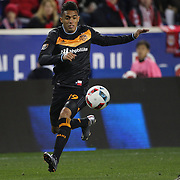 Mauro Manotas, Houston, in action during the New York Red Bulls Vs Houston Dynamo, Major League Soccer regular season match at Red Bull Arena, Harrison, New Jersey. USA. 19th March 2016. Photo Tim Clayton