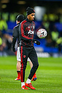 Manchester United Forward Marcus Rashford (10) warms up before the The FA Cup match between Chelsea and Manchester United at Stamford Bridge, London, England on 18 February 2019.