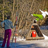 Olympic snowboarder Dom Harrington gains another spectator, Chamonix, France.