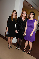 Left to right, PRINCESS BEATRICE OF YORK, SARAH, DUCHESS OF YORK and PRINCESS EUGENIE OF YORK at the Masterpiece Midsummer Party in aid of Marie Curie Cancer Care held at The Royal Hospital Chelsea, London on 2nd July 2013.