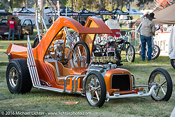BF8 Invited builder Dalton Walker's Split Image Kustoms Pre-unit Triumph in matching custom hotrod at the Born Free Motorcycle Show-8 at the Oak Canyon Ranch. Silverado, CA, USA. Saturday June 25, 2016.  Photography ©2016 Michael Lichter.