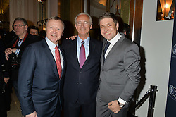 Left to right, WINFRIED ENGELBRECHT-BRESGES Vice Chairman of the IFHA, LOUIS ROMANET Chairman of the IFHA and JUAN-CARLOS CAPELLI VP and head of international marketing for Longines at the Longines World's Best Racehorse Awards 2014 hosted by Longines and the International Federation of Horseracing Authorities held at Claridge's, Brook Street, London on 20th January 2015.