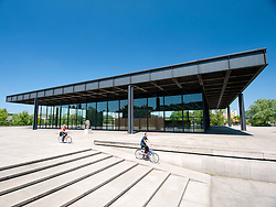 Exterior of Neue Nationalgalerie or New National Gallery modern art museum in Berlin Germany