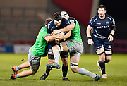 Sale Sharks flanker Jonno Ross is held in the tackle during a Gallagher Premiership match won by Sale Sharks 27-17 at the AJ Bell Stadium, Eccles, Greater Manchester, United Kingdom, Friday, April 5, 2019. (Steve Flynn/Image of Sport)