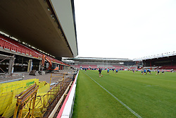 The Bristol Rugby squad train at a redeveloping Ashton Gate ahead of the Greene King IPA Final game against Worcester Warriors - Photo mandatory by-line: Dougie Allward/JMP - Mobile: 07966 386802 - 25/05/2015 - SPORT - Rugby - Bristol - Ashton Gate - Press Conference