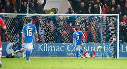 Aberdeen's Simon Church makes sure Aberdeen's Adam Rooney's shot goes in for the fourth. <br /> St Johnstone 3 v 4Aberdeen, SPFL Ladbrokes Premiership played 6/2/2016 at McDiarmid Park, Perth.