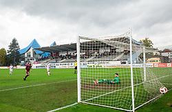 Luka Majcen of Triglav scoring penalty shot against Matjaž Rozman of Celje during football match between NK Triglav and NK Celje in Round #14 of Prva liga Telekom Slovenije 2018/19, on October 27, 2018, in Sports centre Kranj, Slovenia. Photo by Vid Ponikvar / Sportida