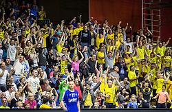 Saleski grascaki, supporters of Velenje during handball match between RK Gorenje and RK Celje Pivovarna Lasko in 5th Round of 1st NLB Leasing Slovenian Champions League 2015/16, on May 11, 2016, in Red arena, Velenje, Slovenia. Photo by Vid Ponikvar / Sportida