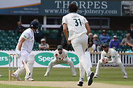 Luis Reece edges Chris Wright to Paul Horton at slip during the Specsavers County Champ Div 2 match between Leicestershire County Cricket Club and Derbyshire County Cricket Club at the Fischer County Ground, Grace Road, Leicester, United Kingdom on 27 May 2019.
