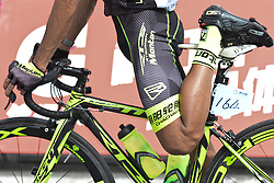 September 16, 2016 - Wuhan, China - Colombian rider Mauricio Ortega from RTS - Monton Racing team stretches his legs ahead of the final sixth stage, 99.6km Wuhan Xinzhou Circuit race, of the 2016 Tour of China 1...On Friday, 16 September 2016, in Xinzhou, Wuhan , China. (Credit Image: © Artur Widak/NurPhoto via ZUMA Press)