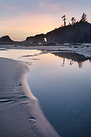 Second Beach tide pools during twilight or blue hour, Olympic National Park near La Push Washington