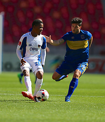 Sizwe Mdlinzo of Chippa United (L) and Roland Putsche of Cape Town City during the 2016 Premier Soccer League match between Chippa United and Cape Town City held at the Nelson Mandela Bay Stadium in Port Elizabeth, South Africa on the 19th November  2016.<br /> <br /> Photo by:   Richard Huggard / Real Time Images
