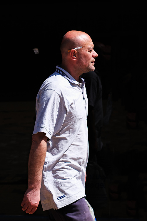 A unknown man is pictured as he walks through Huddersfield Town Centre during the 2020 Covid Crisis