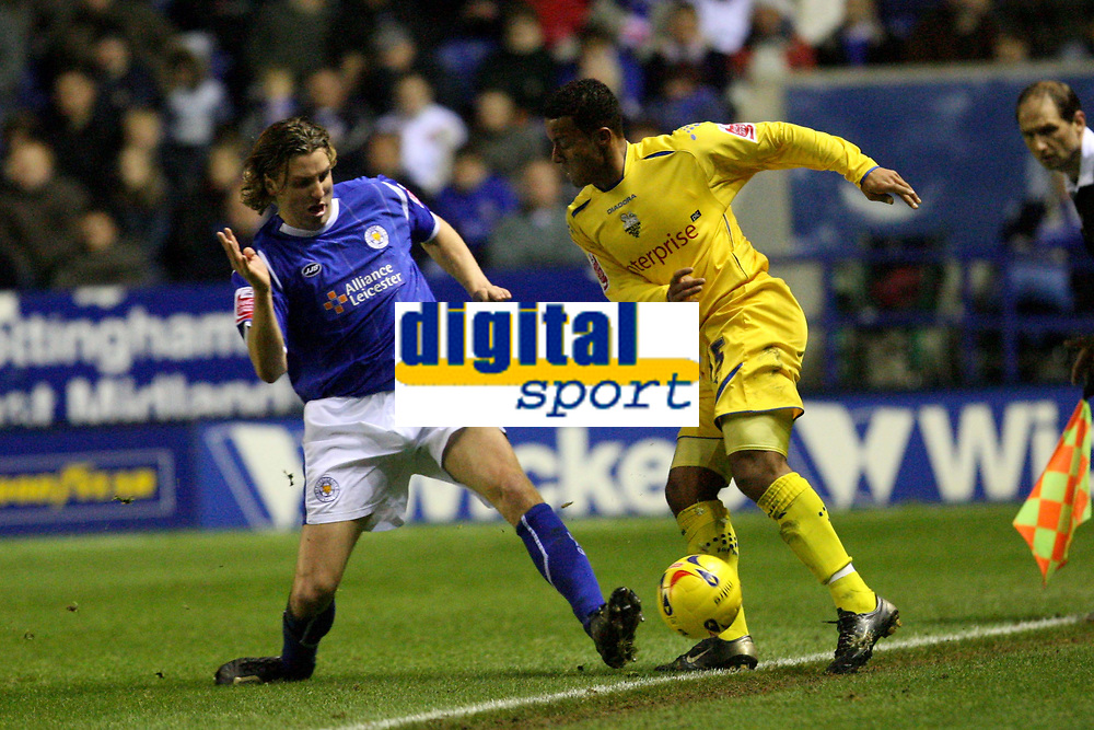 Photo: Pete Lorence.<br />Leicester City v Preston North End. Coca Cola Championship. 18/11/2006.<br />Nils-Eric Johansson slides in on Simon Whaley.
