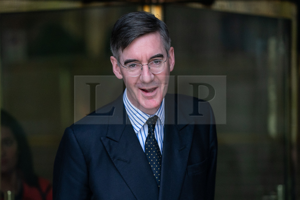 © Licensed to London News Pictures. 27/03/2019. London, UK. Jacob Rees-Mogg MP leaves after appearing on a radio interview in Westminster this morning. Later today MPs are expected to vote on a series of indicative votes on alternative proposals to British Prime Minister Theresa May's withdrawal agreement. Photo credit : Tom Nicholson/LNP