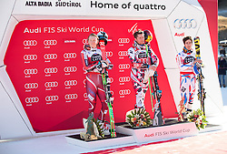 20.12.2015, Gran Risa, La Villa Stern, ITA, FIS Ski Weltcup, Alta Badia, Riesenslalom, Herren, Siegerehrung, im Bild v.l. Henrik Kristoffersen (NOR, 2. Platz), Marcel Hirscher (AUT, 1. Platz), Victor Muffat-Jeandet (FRA, 3. Platz) // 2nd placed Henrik Kristoffersen of Norway ( L ), winner Marcel Hirscher of Austria ( C ), 3rd placed Victor Muffat-Jeandet of France ( R ) Celebrate on Podium during the award ceremony after men' s Giant Slalom of the Alta Badia FIS Ski Alpine World Cup at the Gran Risa Course in La Villa Stern, Italy on 2015/12/20. EXPA Pictures © 2015, PhotoCredit: EXPA/ Johann Groder