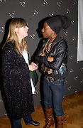 Louise Kay and Cynthia Laurence John, Opening of Black British Style, V.& A. 4 October 2004. ONE TIME USE ONLY - DO NOT ARCHIVE  © Copyright Photograph by Dafydd Jones 66 Stockwell Park Rd. London SW9 0DA Tel 020 7733 0108 www.dafjones.com