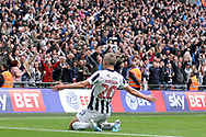 Steve Morison of Millwall celebrates after scoring his team's first goal. EFL Skybet football league one play off final match, Bradford city v Millwall at Wembley Stadium in London on Saturday 20th May 2017.<br /> pic by Steffan Bowen,  Andrew Orchard sports photography.