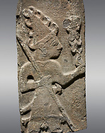 Hittite monumental relief sculpture ofa God probably holding lightning rods. Late Hittite Period - 900-700 BC. Adana Archaeology Museum, Turkey. Against a grey background .<br /> <br /> If you prefer to buy from our ALAMY STOCK LIBRARY page at https://www.alamy.com/portfolio/paul-williams-funkystock/hittite-art-antiquities.html . Type - Adana - in LOWER SEARCH WITHIN GALLERY box. Refine search by adding background colour, place, museum etc.<br /> <br /> Visit our HITTITE PHOTO COLLECTIONS for more photos to download or buy as wall art prints https://funkystock.photoshelter.com/gallery-collection/The-Hittites-Art-Artefacts-Antiquities-Historic-Sites-Pictures-Images-of/C0000NUBSMhSc3Oo