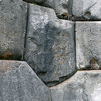 South America, Peru, Cusco.  Stones of the fortress of Sacsayhuaman, on the outskirts of Cusco in the Andes.