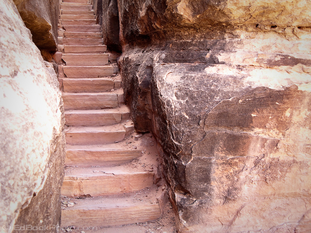 rock stairs between large boulders Elephant Hill Trail, Canyonlands NP, UT, USA