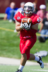 13 September 2014:  Alex Donnelly intercepts a pass during an NCAA football game between the Eastern Illinois Panthers and the Illinois State Redbirds at Hancock Stadium in Normal IL