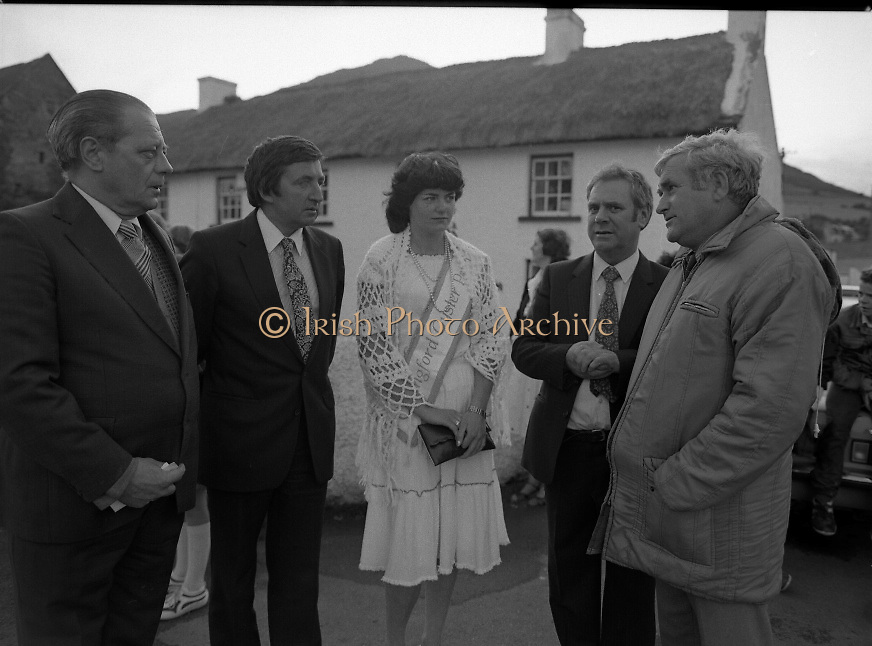 """The Carlingford Oyster Festival.1982.19.08.1982..08.19.1982.19th August 1982..Pictures and Images of the Carlingford Oyster Festival... The Minister For Fisheries and Forestry Mr Brendan Daly officially opened  The Carlingford Oyster Festival. The Chairman of the organising committee was Mr. Joe McKevitt..""""The Oyster Pearl"""" was Ms Deirdre McGrath..The Minister accompanied by the """"Oyster Pearl"""", Ms McGrath  meet some of the organising committee."""