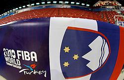 Slovenian flag in Abdi Ipekci Arena - Abdi Ipekci Spor Salonu na Ulasim two days prior to the 2010 FIBA Basketball World Championship, on August 26, 2010, in Istanbul,Turkey. (Photo by Vid Ponikvar / Sportida)