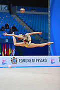 Kiss Alexandra of Hungary competes during the rhythmic gymnastics individual ball qualification of the World Cup at Adriatic Arena on April 1, 2016 in Pesaro, Italy.<br /> Alexandra was born in Budapest Hungary in 2000.