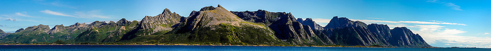 Norway, Lofoten. Looking east from Vestvågøy. Panorama with Henningsvær facing the ocean to the right.