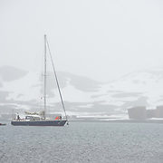 A yacht, the Elincia, comes in to anchor near the shore of Whalers Bay on Deception Island with snow falling. Deception Island, in the South Shetland Islands, is a caldera of a volcano and is comprised of volcanic rock.