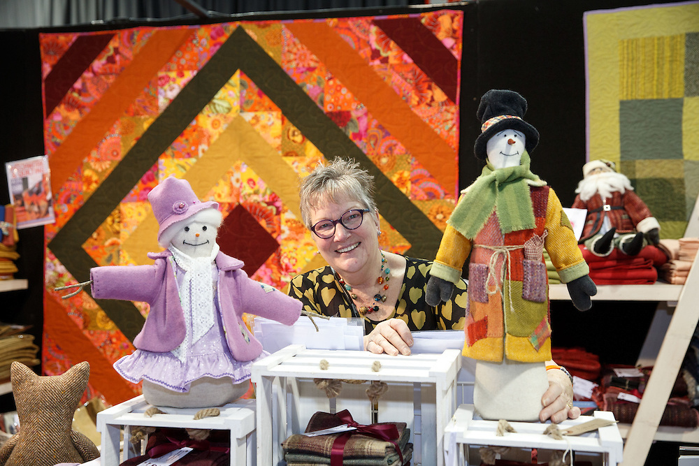FREE PICTURES : Stitching, Sewing & Quilting and Hobbycrafts event at the SECC, Glasgow. Margaret Lee of Fabric Affair, Donegal Tweed.  <br /> Picture Robert Perry 3rd March 2016<br /> <br /> Please credit photo to Robert Perry<br /> <br /> Image is free to use in connection with the promotion of the above company or organisation. 'Permissions for ALL other uses need to be sought and payment make be required.<br /> <br /> <br /> Note to Editors:  This image is free to be used editorially in the promotion of the above company or organisation.  Without prejudice ALL other licences without prior consent will be deemed a breach of copyright under the 1988. Copyright Design and Patents Act  and will be subject to payment or legal action, where appropriate.<br /> www.robertperry.co.uk<br /> NB -This image is not to be distributed without the prior consent of the copyright holder.<br /> in using this image you agree to abide by terms and conditions as stated in this caption.<br /> All monies payable to Robert Perry<br /> <br /> (PLEASE DO NOT REMOVE THIS CAPTION)<br /> This image is intended for Editorial use (e.g. news). Any commercial or promotional use requires additional clearance. <br /> Copyright 2016 All rights protected.<br /> first use only<br /> contact details<br /> Robert Perry     <br /> 07702 631 477<br /> robertperryphotos@gmail.com<br />        <br /> Robert Perry reserves the right to pursue unauthorised use of this image . If you violate my intellectual property you may be liable for  damages, loss of income, and profits you derive from the use of this image.