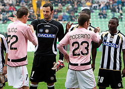Josip Ilicic of Palermo and Samir Handanovic of Udinese during football match between Udinese Calcio and Palermo in 8th Round of Italian Seria A league, on October 24, 2010 at Stadium Friuli, Udine, Italy.  Udinese defeated Palermo 2 - 1. (Photo By Vid Ponikvar / Sportida.com)