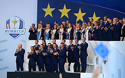 The European Team in front of their wives and girlfriends during the Ryder Cup Opening Ceremony at Le Golf National, Saint-Quentin-en-Yvelines, Paris.