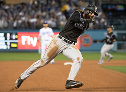 May 22, 2018 - Los Angeles, CA, U.S. - LOS ANGELES, CA - MAY 22: Colorado Rockies' Charlie Blackmon (19) rounds the bases to score during a Major League Baseball game between the Colorado Rockies and the Los Angeles Dodgers on May 22, 2018 at Dodger Stadium in Los Angeles, CA. (Photo by Kyusung Gong/Icon Sportswire) (Credit Image: © Kyusung Gong/Icon SMI via ZUMA Press)