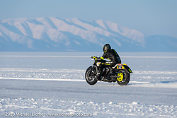 Oleg Goryunov riding his Indian Scout ice racer at the Baikal Mile Ice Speed Festival. Maksimiha, Siberia, Russia. Friday, February 28, 2020. Photography ©2020 Michael Lichter.