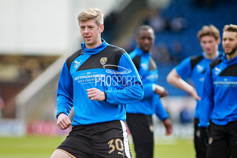 Notts County forward Jonathan Stead (30) warming up before the EFL Sky Bet League 2 match between Chesterfield and Notts County at the Proact stadium, Chesterfield, England on 25 March 2018. Picture by Nigel Cole.