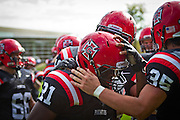 Marquis Bradley '11 is congratulated by numerous teammates following his fumble recovery during Saturday's 31-17 victory over Lawrence University.