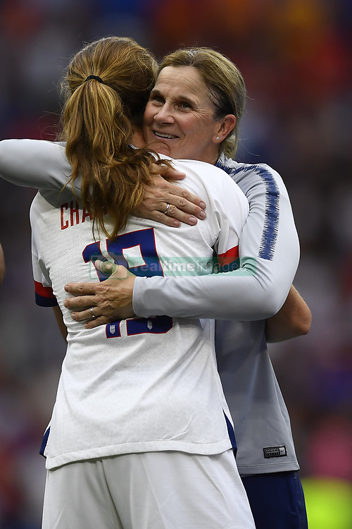 July 7, 2019 - Lyon, France - Jill Ellis head coach of United States and Tierna Davidson celebrate after winning the during the 2019 FIFA Women's World Cup France Final match between The United State of America and The Netherlands at Stade de Lyon on July 7, 2019 in Lyon, France. (Credit Image: © Jose Breton/NurPhoto via ZUMA Press)