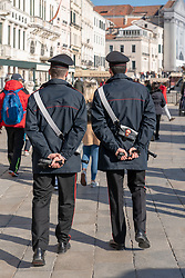 Two policemen on patrol in Venice. From a series of travel photos in Italy. Photo date: Wednesday, February 13, 2019. Photo credit should read: Richard Gray/EMPICS