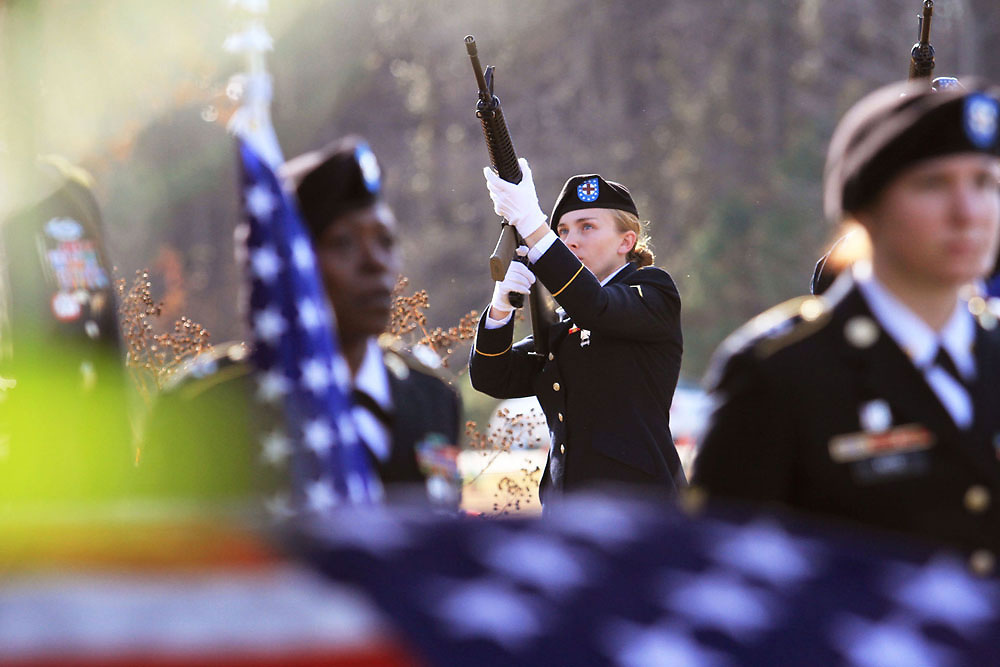 A gun salute takes place for Staff Sgt. Rayvon Battle, Jr.'s on Friday at the burial site at Garden of Gethsemane.  Staff Sgt. Battle was killed on November 13, 2012 during his second tour of duty in Afghanistan.