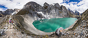 Gangrajanca Lake lies at the feet of massive peak Yerupaja Grande in the Cordillera Huayhuash, Andes Mountains, Peru, South America. Day 3 of 9 days trekking around the Cordillera Huayhuash. This panorama was stitched from 27 overlapping photos.