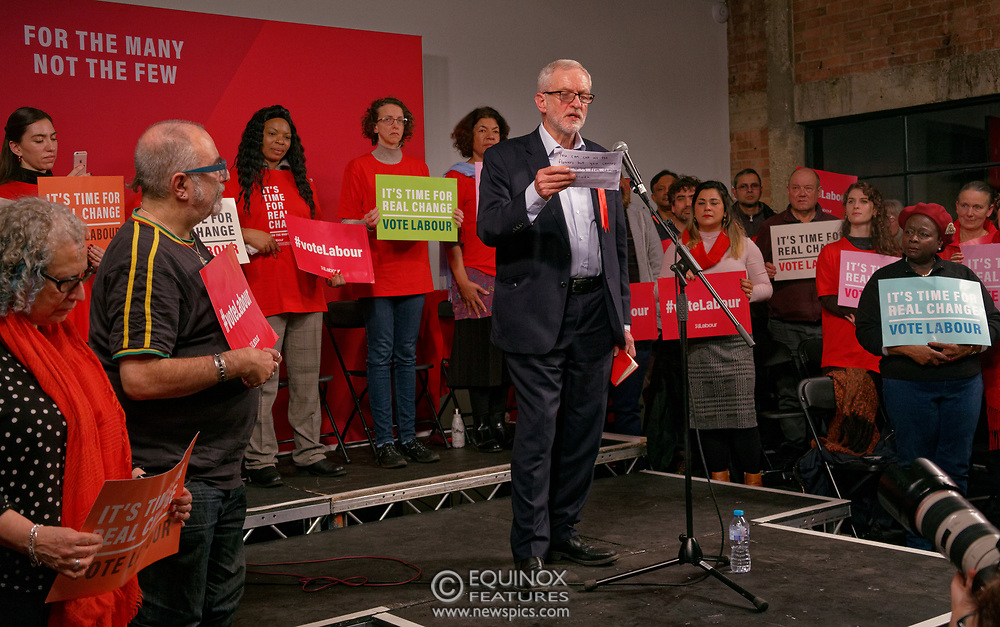 London, United Kingdom - 11 December 2019<br /> Labour Party leader Jeremy Corbyn speaking at their final campaign rally before the General Election 2019 at Hoxton Docks, London, England, UK.<br /> (photo by: EQUINOXFEATURES.COM)<br /> Picture Data:<br /> Photographer: Equinox Features<br /> Copyright: ©2019 Equinox Licensing Ltd. +443700 780000<br /> Contact: Equinox Features<br /> Date Taken: 20191211<br /> Time Taken: 21544597<br /> www.newspics.com