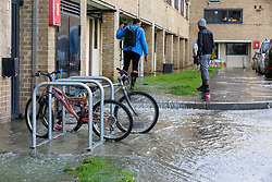 © Licensed to London News Pictures. 08/10/2019. London, UK. Resident outside their flat following a burst water main on Brownswood Road in Finsbury Park, north London, causing flooding in a housing estate. Emergency services and Thames Water are at the scene.  Photo credit: Dinendra Haria/LNP